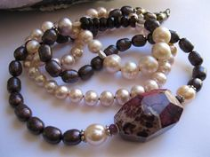 Soft Pink and Claret Pearl Long Necklace with Wine Turquoise