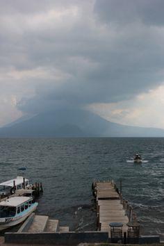Panajachel. Volcano view. Lago de Atitlan. Guatemala.