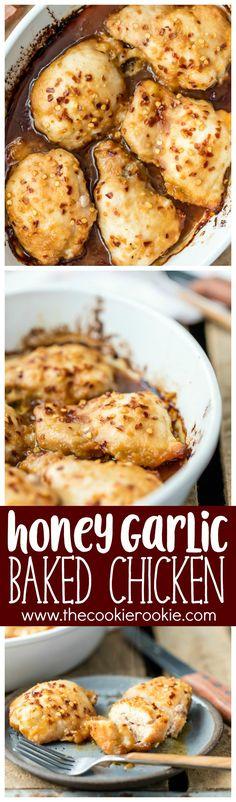 Honey Garlic Baked Chicken @FoodBlogs