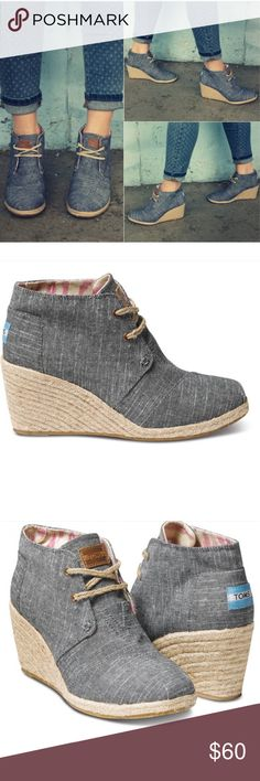 "TOMS Chambray Desert Wedge Gently worn, great condition  TOMS Black Chambray Women's Desert Wedge size 11. A closed-toe lace-up wedge fashioned with downtown walkabout comfort in mind. Versatile enough for dressing up or dressing down, all-day wear provided by the lower heel height of 2 3/4"". Official color is Chambray black but looks more blue. Only slight marking is the back of right heel please see pics. Rope lacing and heel with ikat printed liner. Thanks for looking, no trades! TOMS…"