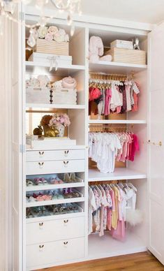 Nursery Closets to Die For + An Expert's Best Organization Tips - Project Nursery Lisa Adams, of LA Closet Design, is sharing her best advice for maximizing your nursery closet space + drool-worthy nursery closet examples to inspire you! Baby Nursery Closet, Baby Bedroom, Baby Room Decor, Nursery Room, Kids Bedroom, Baby Girl Closet, Baby Closets, Nursery Ideas, Nursery Armoire