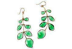 Leafy Vine Earrings, Emerald