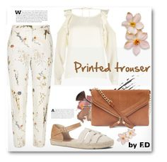 """""""printed trouser"""" by qroxp ❤ liked on Polyvore featuring River Island, Mary Kay, Nine West, New Look, StreetStyle, outfit and fashionset"""