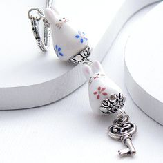 Kawaii Cute Bookmark  White Rabbits Silver Scroll by Rabbittude