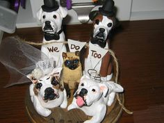 Five Pet Cat and Dog Wedding cake topper by AntonisArtAsylum