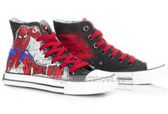 High Top SpiderMan Painted Canvas Women/Men Shoes,High-top Painted Canvas  Shoes