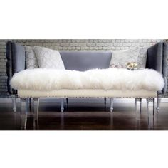 TOV Furniture Luxe White Sheepskin Lucite Bench ($435) ❤ liked on Polyvore featuring home, furniture, benches, white bench, plexiglass furniture, acrylic leg bench, white furniture and nailhead furniture