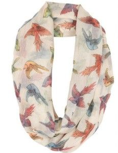 Ivory multicolored bird scarf with red, blue, yellow, and green birds. My sister would love this bird scarf. #scarves