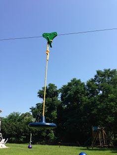Backyard Zip Line: Zip-Line Build Pics: posts, chain, seat, bumper, steps - All For Garden Zip Line Backyard, Backyard Fort, Backyard Playground, Backyard For Kids, Backyard Projects, Outdoor Projects, Playground Ideas, Kids Outdoor Play, Kids Play Area
