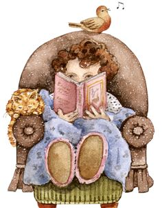Reading... The best R & R there is! Evening, Easy Chair, Snug, Comfy, Night Clothes, Night Robe, Girl reading book, Pets, Cat, Bird.