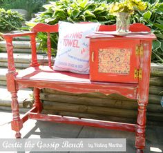 I would love to find and spruce up an old gossip bench Repurposed Furniture, Painted Furniture, Furniture Makeover, Home Furniture, Vintage Telephone Table, Diy Chalk Paint Recipe, Gossip Bench, Chalk Paint Projects, Diy Projects