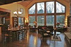 The great room - perfect for relaxing with good friends & family. Five Birches in Fish Creek.