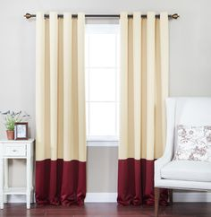 Colorblock Thermal Insulated Grommet Top Blackout Curtain Panels