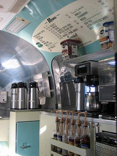Airstream 1958 Cosmic Cafe , trade shows Event Rentals, catered Weddings, Private Party's , Mobile Espresso Bar Catering Trailer, Food Truck Catering, Food Trailer, Food Trucks, Coffee Food Truck, Mobile Coffee Shop, Coffee Trailer, Mobile Cafe, Food Truck Wedding