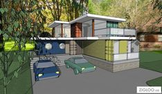 Incredible Frank Lloyd Wright-inspired container home.