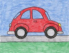 Draw a VW Beetle Car – Art Projects for Kids Let's face it, Volkswagon Beetle cars are cute. Here's how I would draw one, if someone asked. Basic Drawing For Kids, Car Drawing Easy, Car Drawing Kids, Easy Art For Kids, Drawing Lessons For Kids, Easy Drawings For Kids, Art Lessons, Drawing Classes, Drawing Drawing