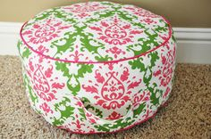 Step by step instructions to make your own beanbag/ottoman.  I would make it bigger (anyone know how to calculate circumference?) and I have plenty of old pillows to recycle for stuffing!