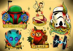 Star Wars Tattoo Art by Phil Wall I'm not one for flash art, but the Ewok one was what I was thinking of getting.