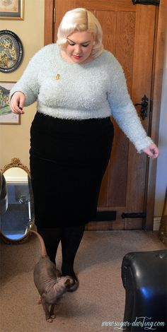 ff6f04494e2 Bombshell look with this fuzzy pastel sweater.  plussize  fashion   psbloggers  CD