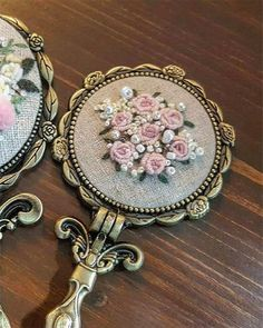 Raindrops and Roses Hand Embroidery Flowers, Embroidery Jewelry, Hand Embroidery Designs, Ribbon Embroidery, Embroidery Art, Embroidery Stitches, Embroidery Patterns, Decorative Hand Towels, Beaded Jewelry