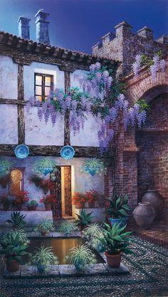 Patio Del Bañuelo ~ Luis Romero Beaux Arts, Spanish Painters, Spanish  Artists, Amazing