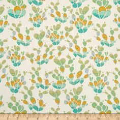 Designed by Bonnie Christine for Art Gallery, cotton print is perfect for quilting, apparel and home decor accents. Art Gallery Fabric features 200 thread count of finely woven cotton. Colors include cream, teal, green, gold and light blue with gold metallic accents.