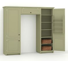Pantry on either side of fridge. Use one for canned goods etc, and ...