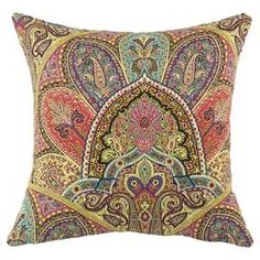 """Cotton pillow with a multicolor paisley motif. Made in the USA.  Product: PillowConstruction Material: Cotton cover and hypoallergenic polyester fiber fillColor: Gold, blue, pink and aquaFeatures:  Insert includedZippered closureMade in the USA Dimensions: 17"""" x 17"""""""