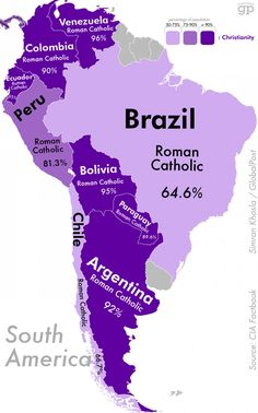 Religion in South America Ap Human Geography, Geography Map, World Geography, Teaching Geography, Ap World History, History Facts, History Education, Teaching History, American History