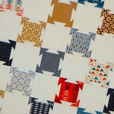 Modern Neutrals Quilts - AmysCreativeSide.com. Leave out the red and go with a khaki dove grey in its place