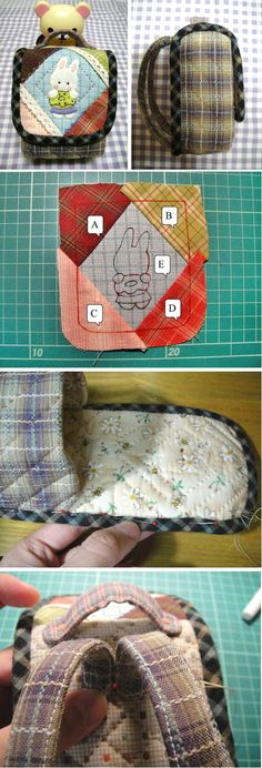 Patchwork and Quilted Small Backpack. DIY. Tutorial with Photos.  http://www.handmadiya.com/2015/12/quilted-small-backpack.html