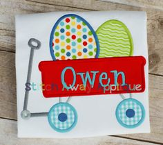 Little red wagon with eggs