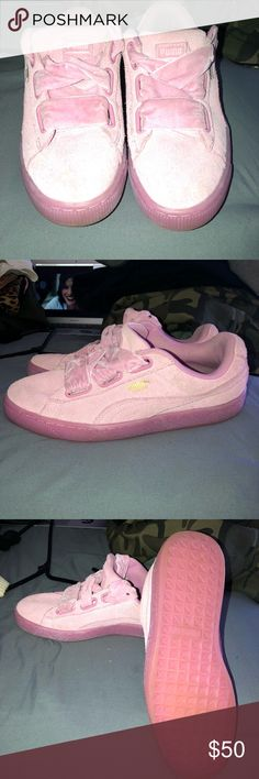 Pink Puma Suede Sneakers Limited addition puma sneakers, comes with suede laces. Worn a few times but the bottom looks pretty clean still. You can switch laces if you'd like. Size 9 in women's. Puma Shoes Sneakers