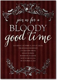 Bloody Good Time - Halloween Party Invitations in Rich Burgundy | Sarah Hawkins Designs