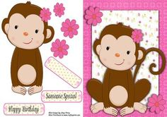 """Cheeky Monkey With Pink Flower on Craftsuprint designed by Amy Perry - Cheeky Monkey With Pink Flower in lovely pink frame with corner flowers, also has decoupage and choice of tag """"Happy Birthday"""" """"Someone Special"""" and a blank tag for your own sentiment - Now available for download!"""