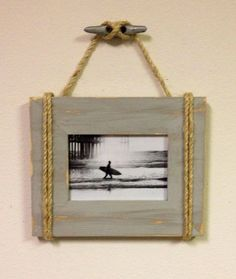Shabby Chic Nautical Beach cottage 5X7 Rope Boat cleat Picture Frame in Distressed Driftwood gray