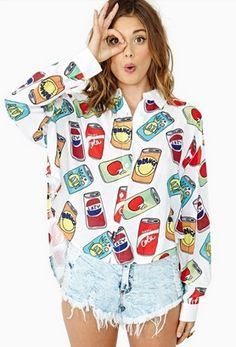 Lazy Oaf Nice Cans Crop Shirt in Clothes Tops at Nasty Gal Fashion Killa, Look Fashion, Fashion Outfits, Womens Fashion, Moda Grunge, Pattern Floral, Moda Emo, Oversized Blouse, Winter Looks