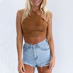 Jennifer Scallop Hem Crop Top - The Wild Flower Shop    For the free spirited fashionista, this sassy top gets a dose of chic-ness & sexy allure with its lace up back, high neck feature & crop length. Perfect match with shorts for an on-trend outfit or flowy skirt for a glam nite out! • Back lace up • Adjustable shoulder straps • Weight: 50 gram Material: Cotton blend   $21