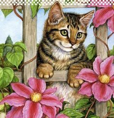 Diamond Painting Window Flower Cat Paint with Diamonds Art Crystal Craft Decor Art And Illustration, Illustrations, Image Chat, Mosaic Animals, Diamond Art, Cat Drawing, Cat Art, Animals And Pets, Cats And Kittens