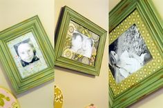 Upscaling a used and old photo mat: Modgepodge and scrapbook paper...and a little paint on the frame :-)