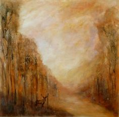 """""""This painting draws inspiration from Dutch Italianate landscape painting, typically set in woodland with golden light and distant ruins or animals in the foreground. I wanted to explore the difference between traditional and contemporary techniques as well as the tension between abstraction and representation. I used many layers of fine glazes to create an overall warm glow."""" - Katia Bellini"""