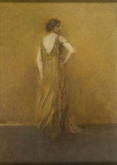 Thomas Wilmer Dewing   Lady in Green, circa 1910  oil on canvas