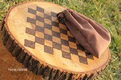 Rustic Log Checker Game Set 26 rustic checker by FunnyFarmToyBarn,