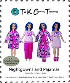 Nightshirt for Curvy Barbie Fashionista Doll Clothes TKCT Pink Unicorn