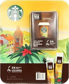 4 Wholesale Lots Starbucks Via Ready Brew Columbia Medium Instant Coffee, 96 Self Serve Packets Total * You can get additional details at the image link.
