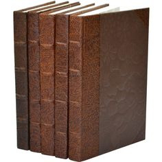 Leather Chocolate Book Set of 5 ($207) ❤ liked on Polyvore featuring books and home