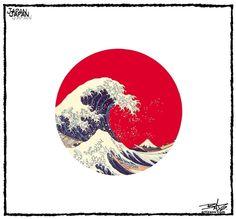 japanese flag/great wave of kanagawa