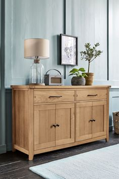 Next Thornley Oak Large Sideboard - Natural Sideboards Living Room, Furniture Finishes, Large Sideboard, Lounge Decor, Country Style Furniture, Oak, Classic Sideboard, Sideboard, Home Decor