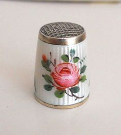 David Andersen Norway Vintage Painted Rose Enamel 925 Sterling Silver Thimble | eBay