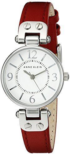 Now in stock Anne Klein Women's 109443WTRD Silver-Tone White Dial and Red Leather Strap Watch